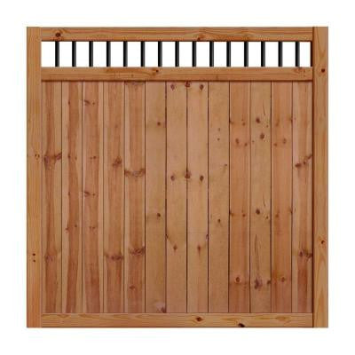 6 ft. x 6 ft. Unassembled Pressure-Treated Cedar-Tone Baluster Top Pine Fence Kit