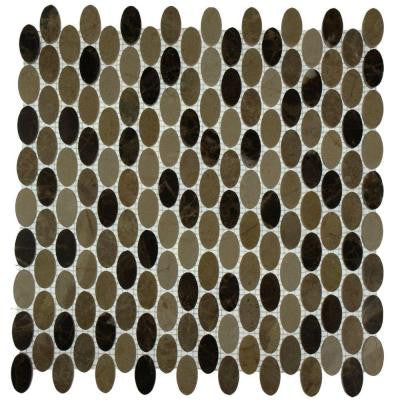 Orbit Woodland Ovals 12 in. x 12 in. x 8 mm Mosaic Floor and Wall Tile