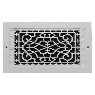 Victorian Wall Mount 6 in. x 12 in. Polymer Resin Decorative Cold Air Return Grille, White