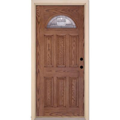 37.5 in. x 81.625 in. Preston Zinc Fan Lite Stained Medium Oak Fiberglass Prehung Front Door