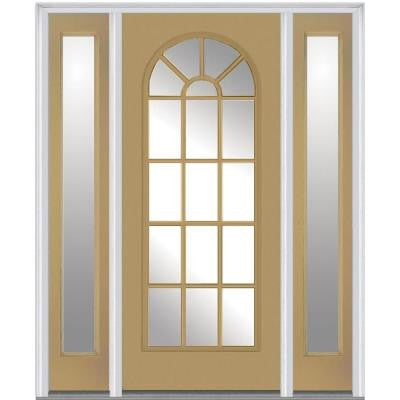 60 in. x 80 in. Classic Clear Glass Round Top Full Lite Painted Builder's Choice Steel Prehung Front Door with Sidelites