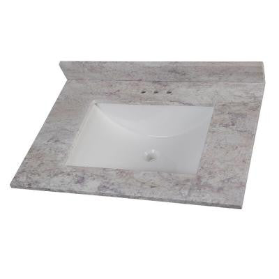 31 in. Stone Effects Vanity Top in Winter Mist with White Basin