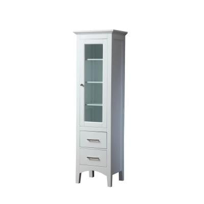 Leah 20 in. W x 16 in. D x 70 in. H Storage Linen Floor Cabinet in White