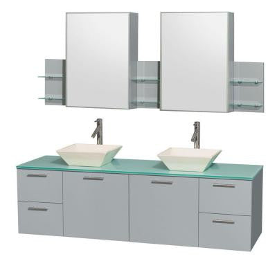 Amare 72 in. W x 22.25 in. D Vanity in Dove Gray with Glass Vanity Top in Green with Bone Basins and Cabinet Mirrors