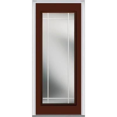 30 in. x 80 in. Classic Clear Glass PIM Full Lite Painted Fiberglass Smooth Prehung Front Door