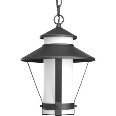 Via Collection 1-Light Black Outdoor Fluorescent Hanging Lantern