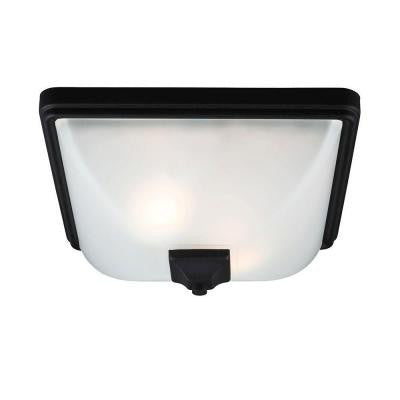 Irving Park 2-Light Outdoor Black Ceiling Flushmount with Satin Etched Glass