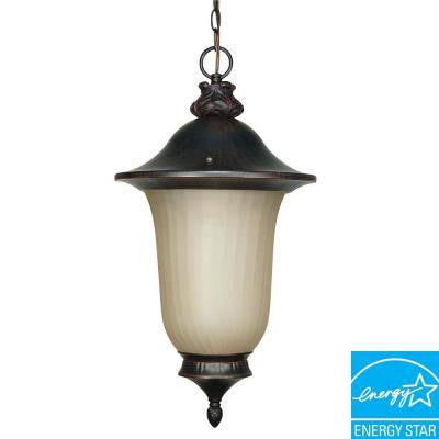 1-Light Hanging Outdoor Old Penny Bronze Lantern