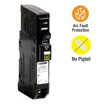 QO 15 Amp Single-Pole Plug-On Neutral CAFCI Circuit Breaker