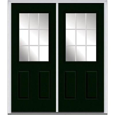 72 in. x 80 in. Classic Clear Glass GBG 1/2 Lite Painted Fiberglass Smooth Double Prehung Front Door