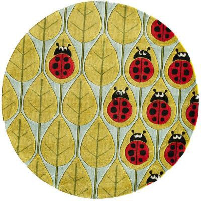 Caprice Lady Bug Blue 5 ft. x 5 ft. Indoor Round Area Rug