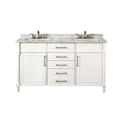 Aberdeen 60 in. W x 22 in. D Double Vanity in White with Marble Vanity Top in White