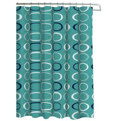 Oxford Weave Textured 70 in. W x 72 in. L Shower Curtain with Metal Roller Hooks in Terrell Light Blue