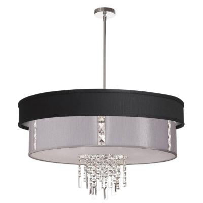 Rita 4-Light Polished Chrome Crystal Pendant with Black/Silver and Steel Shade