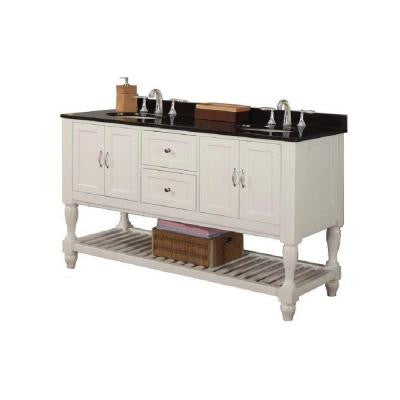 Mission Turnleg 60 in. Double Vanity in Pearl White with Granite Vanity Top in Black