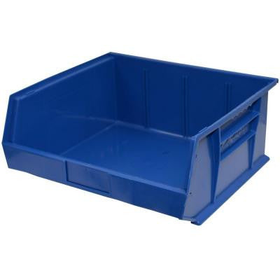 16-1/2 in. W x 14-3/4 in. D x 7 in. H Stackable Plastic Storage Bin in Blue (6-Pack)