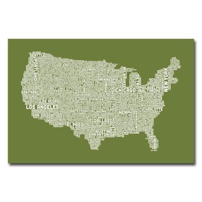 16 in. x 24 in. US City Map VI Canvas Art