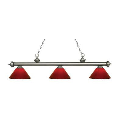 Marice 3-Light Antique Silver Island Light with Red Shades