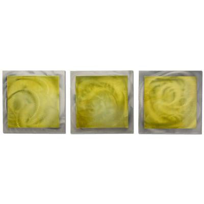 Brevium 12 in. x 38 in. Yellow Essence Metal Wall Art (Set of 3)