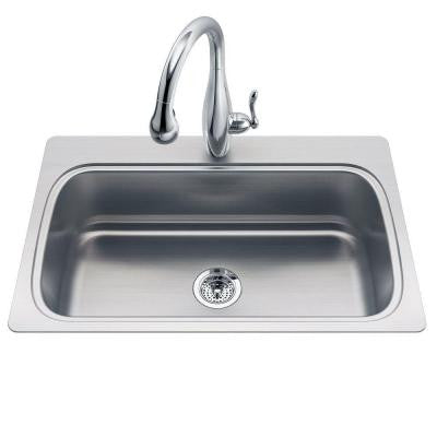 Verse Drop-In Stainless Steel 33 in. 3-Hole Single Bowl Entertainment Sink