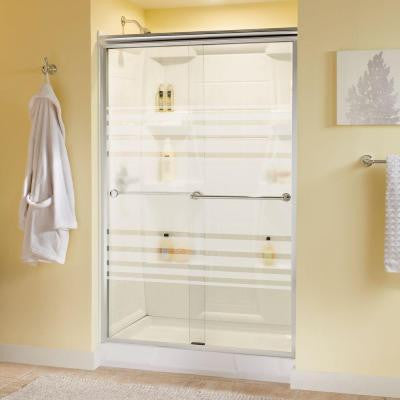 Crestfield 47-3/8 in. x 70 in. Semi-Framed Bypass Sliding Shower Door in Polished Chrome with Transition Glass