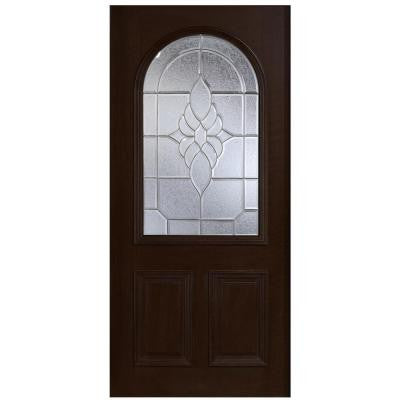 36 in. x 80 in. Mahogany Type Round Top Glass Prefinished Espresso Beveled Zinc Solid Wood Front Door Slab