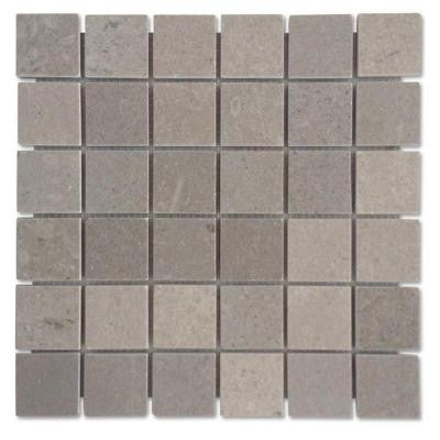 Lady Gray Mesh Mounted Squares - 12 in. x 12 in. x 10 mm Honed Marble Mosaic Tile