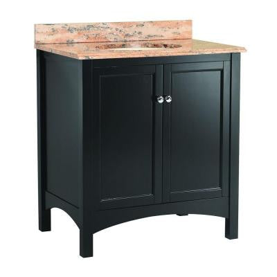 Haven 31 in. W x 22 in. D Vanity in Espresso with Vanity Top and Stone Effects in Bordeaux