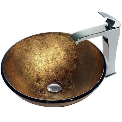 Liquid Gold Vessel Sink in Coppers and Gold with Faucet in Chrome