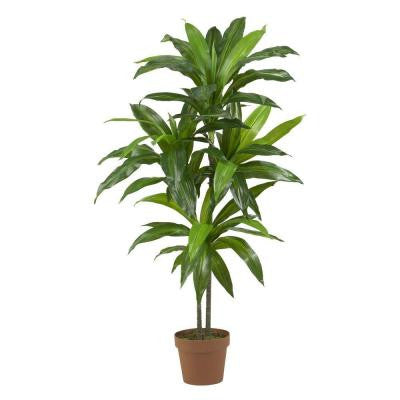 Real Touch 48 in. H Green Dracaena Silk Plant