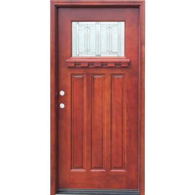 36 in. x 80 in. Craftsman 1 Lite Stained Mahogany Wood Prehung Front Door with Dentil Shelf
