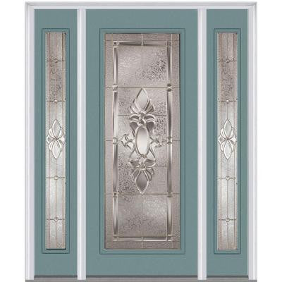 64 in. x 80 in. Heirloom Master Decorative Glass Full Lite Painted Fiberglass Smooth Prehung Front Door with Sidelites