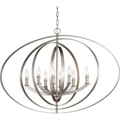 Equinox Collection 8-Light Burnished Silver Chandelier
