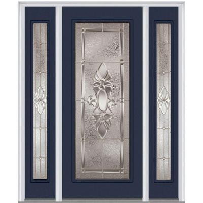 60 in. x 80 in. Heirloom Master Decorative Glass Full Lite Painted Majestic Steel Prehung Front Door with Sidelites