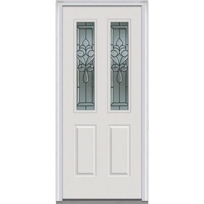 30 in. x 80 in. Fontainebleau Decorative Glass 2 Lite 2-Panel Primed White Fiberglass Smooth Prehung Front Door