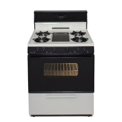 30 in. 3.91 cu. ft. Freestanding Gas Range with 5th Burner and Griddle Package in Biscuit