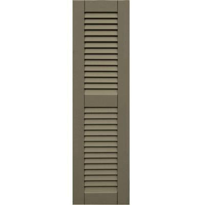 Wood Composite 12 in. x 43 in. Louvered Shutters Pair #660 Weathered Shingle