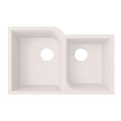Undermount Granite 21 in. Double Bowl Kitchen Sink in Bianca