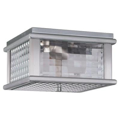 Mission Lodge 2-Light Brushed Aluminum Outdoor Ceiling Fixture