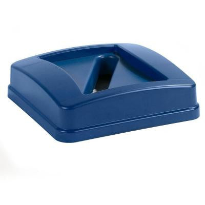 Centurian 23 gal. Blue Square Trash Can Paper Recycling Lid (4-Pack)