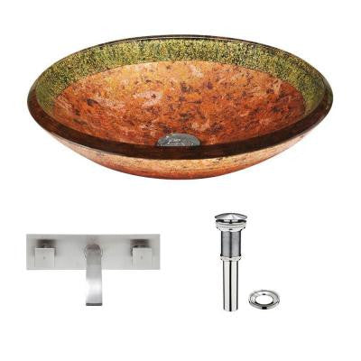 Glass Vessel Sink in Janus with Titus Wall-Mount Faucet Set in Brushed Nickel