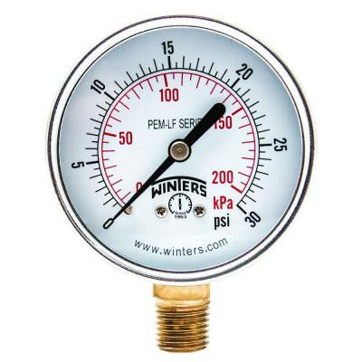 PEM-LF Series 2.5 in. Lead-Free Brass Pressure Gauge with 1/4 in. NPT LM and 0-30 psi/kPa