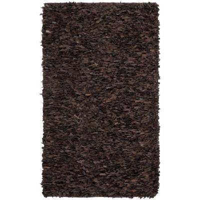 Leather Shag Dark Brown 9 ft. x 12 ft. Area Rug