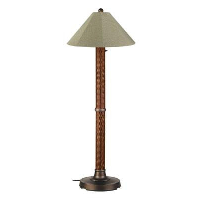 Bahama Weave 60 in. Red Castango Floor Lamp with Basil Linen Shade