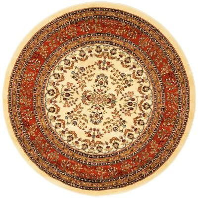 Lyndhurst Ivory / Rust 5 ft. 3 in. x 5 ft. 3 in. Round Area Rug