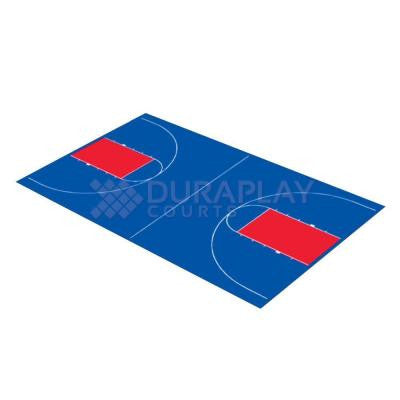 44 ft. 3 in. x 75 ft. 6 in. Royal Blue and Red Full Court Basketball Kit