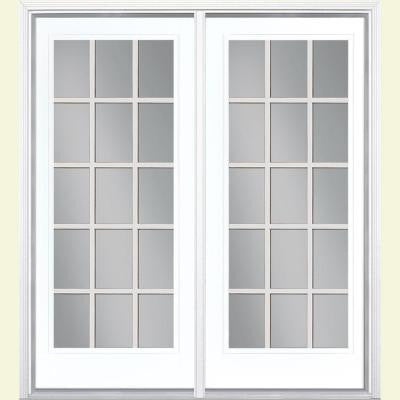 72 in. x 80 in. Ultra White Prehung Left-Hand Inswing 15 Lite GBG Fiberglass Patio Door with Brickmold