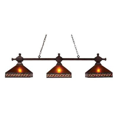 Orly 3-Light Mission Bronze Billiard Island Pendant