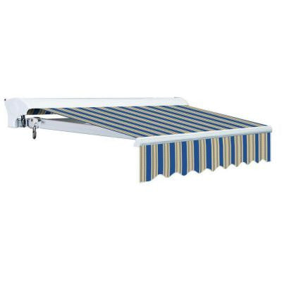12 ft. Luxury L Series Semi-Cassette Electric w Remote Retractable Patio Awning (118 in. Projection) Blue/Beige Stripes