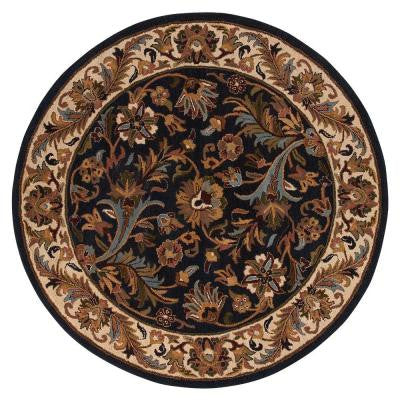 Dudley Navy/Beige 5 ft. 9 in. Round Area Rug